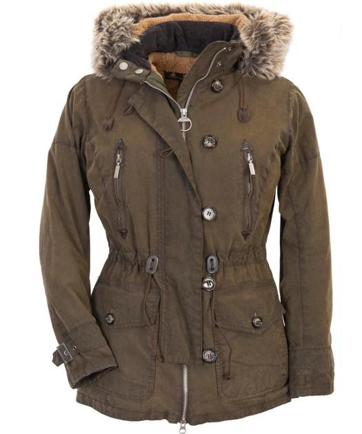 Barbour Vintage Troop Waxed Parka Jacket Olive Womens