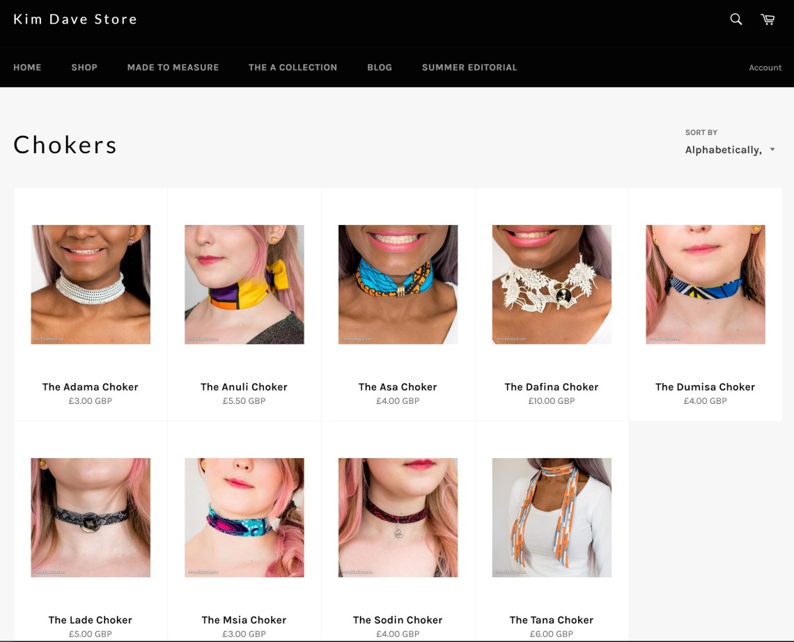 kim dave store page