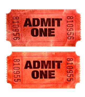 Stained and damaged red admission tickets (XXL)