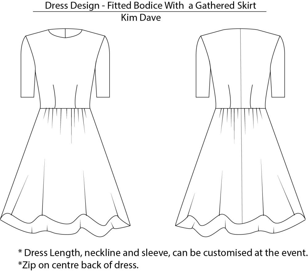 fitted dress with gathered skirt